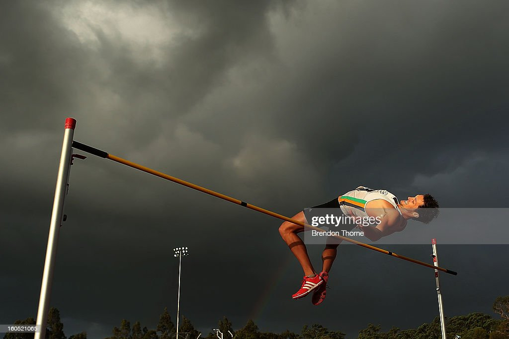 Chris Dodd of NSW competes in the Men's High Jump during the Hunter Track Classic on February 2, 2013 in Newcastle, Australia.