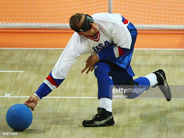Chris Dodds of the U.S. Competes in the men's goalball match between Sweden and the U.S. At Beijing Institute of Technology Gymnasium during day...