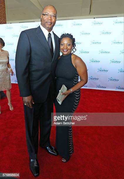 Chris Doleman and wife walk the red carpet at the 2016 Starkey Hearing Foundation So the World May Hear awards gala at the St Paul RiverCentre on...