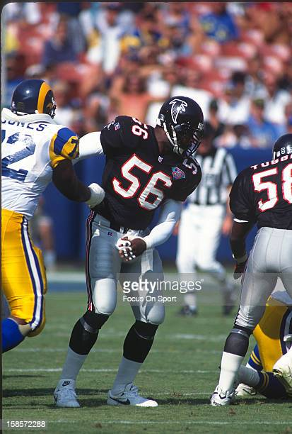 Chris Doleman of the Atlanta Falcons in action against the Los Angeles Rams during an NFL football game September 111994 at AtlantaFulton County...
