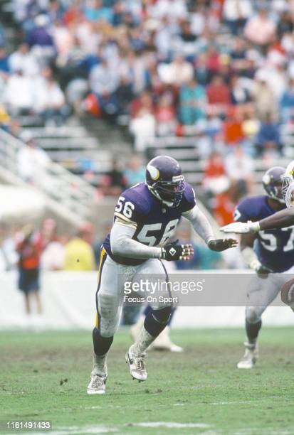 Chris Doleman of the Minnesota Vikings in action against the Phoenix Cardinals during an NFL football game October 27 1991 at Sun Devil Stadium in...