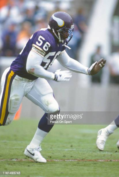Chris Doleman of the Minnesota Vikings in action against the Tampa Bay Buccaneers during an NFL football game November 8 1992 at Tampa Stadium in...