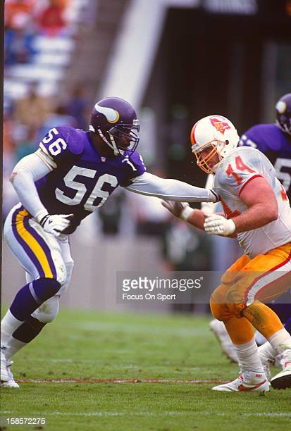 Chris Doleman of the Minnesota Vikings rushes up against Paul Gruber of the Tampa Bay Buccaneers during an NFL football game November 8 1992 at Tampa...
