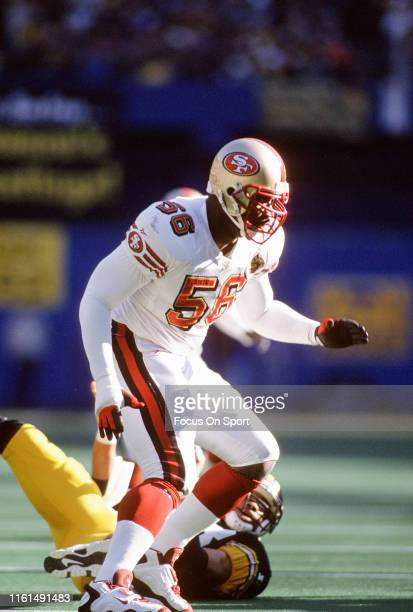 Chris Doleman of the San Francisco 49ers in action against the Pittsburgh Steelers during an NFL football game December 1996 at Three Rivers Stadium...