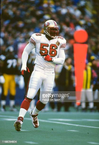Chris Doleman of the San Francisco 49ers in action against the Pittsburgh Steelers during an NFL football game December 15 1996 at Three Rivers...