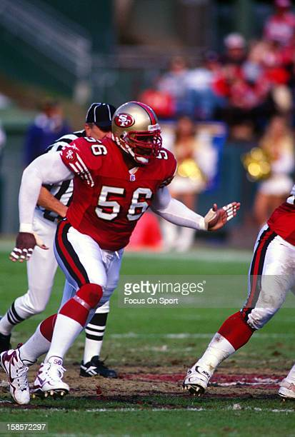 Chris Doleman of the San Francisco 49ers in action against the San Diego Chargers during an NFL football game November 23 1997 at Candlestick Park in...
