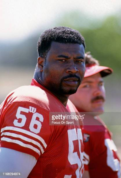 Chris Doleman of the San Francisco 49ers looks on during an NFL football game circa 1996 at Candlestick Park in San Francisco California Doleman...