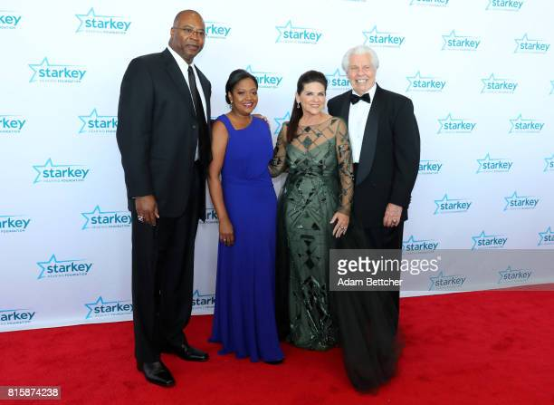 Chris Doleman Toni Doleman Tani Austin and Bill Austin pose on the red carpet at the 2017 Starkey Hearing Foundation So the World May Hear Awards...