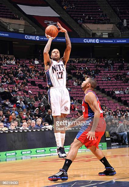 Chris DouglasRoberts of the New Jersey Nets shoots against Eric Gordon of the Los Angeles Clippers during the game on January 27 2010 at the Izod...