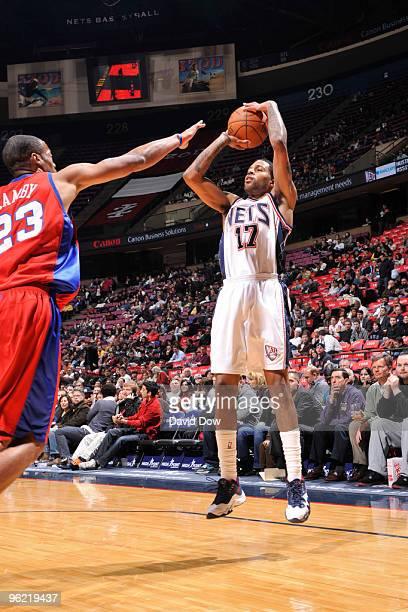 Chris DouglasRoberts of the New Jersey Nets shoots against Marcus Camby of the Los Angeles Clippers during the game on January 27 2010 at the Izod...