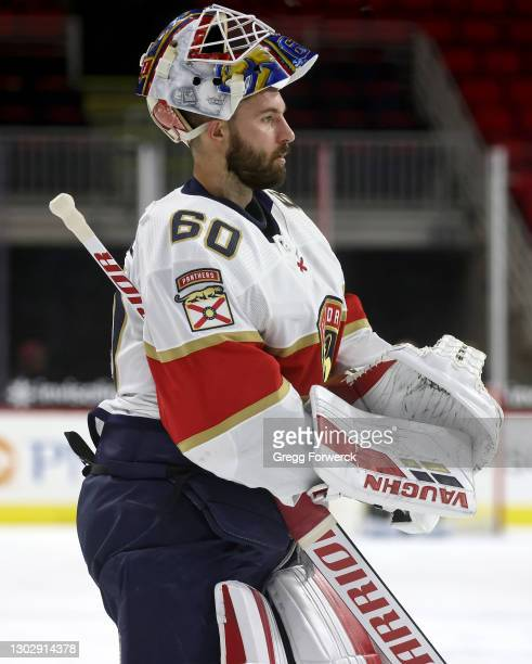 Chris Driedger of the Florida Panthers skates back to the crease after a timeout during an NHL game against the Carolina Panthers on February 17,...