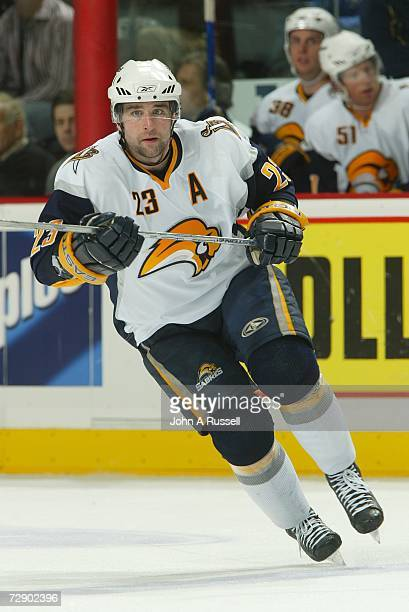 Chris Drury of the Buffalo Sabres skates against the Nashville Predators at Gaylord Entertainment Center on December 21, 2006 in Nashville, Tennessee.