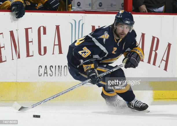 Chris Drury of the Buffalo Sabres skates against the NY Rangers during Game 2 of the 2007 Eastern Conference Semifinal game on April 27 2007 at HSBC...