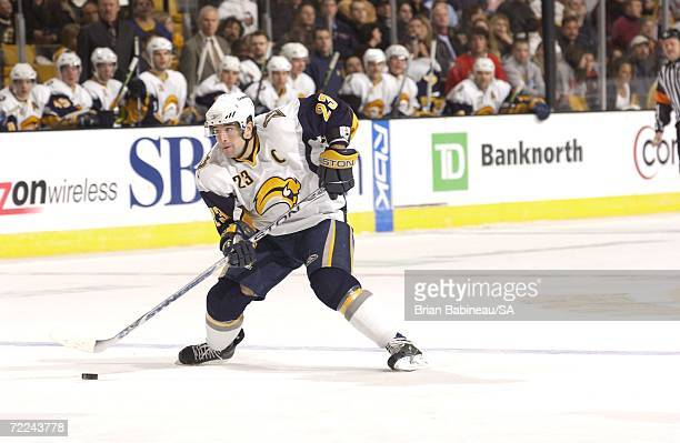 Chris Drury of the Buffalo Sabres skates with the puck against the Boston Bruins at the TD Banknorth Garden on October 21 2006 in Boston...