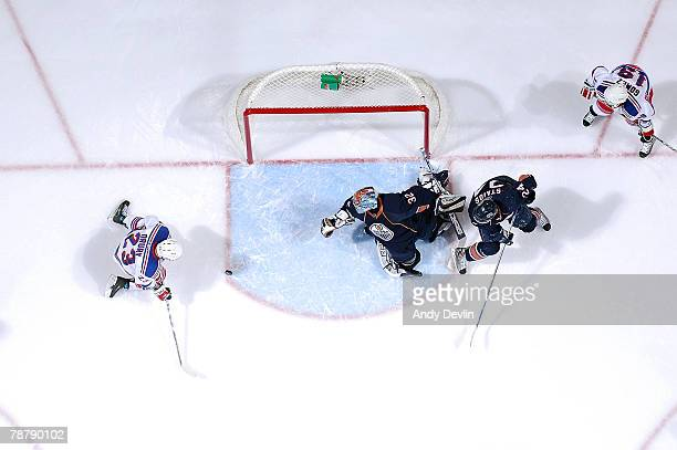 Chris Drury of the New York Rangers about to score a goal against Mathieu Garon of the Edmonton Oilers at Rexall Place on January 5 2008 in Edmonton...