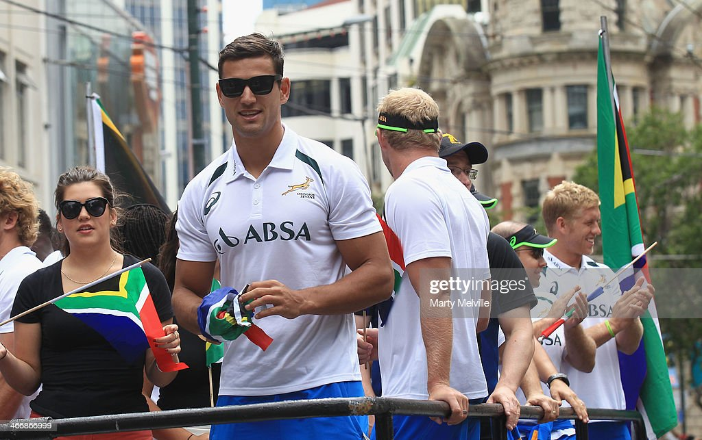 Chris Dry of South Africa watches the fans during a South African street parade ahead of the 2014 Wellington Sevens on February 5, 2014 in Wellington, New Zealand.