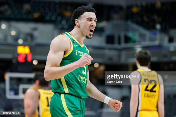 Chris Duarte of the Oregon Ducks reacts during the game against the Iowa Hawkeyes in the second round of the 2021 NCAA Men's Basketball Tournament at...