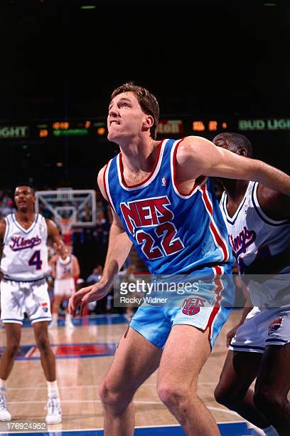 Chris Dudley of the New Jersey Nets boxes out against the Sacramento Kings on January 28 1991 at Arco Arena in Sacramento California NOTE TO USER...