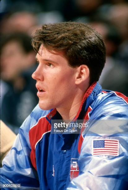 Chris Dudley of the New Jersey Nets looks on from the bench against the Washington Bullets during an NBA basketball game circa 1991 at the Capital...