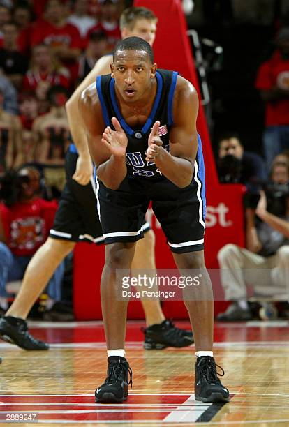 Chris Duhon of the Duke Blue Devils prepares to play defense against the Maryland Terrapins during ACC basketball action on January 21 2004 at the...