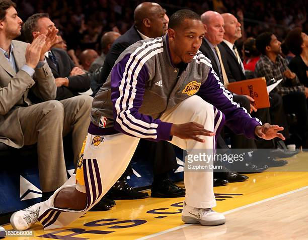 Chris Duhon of the Los Angeles Lakers celebrates after a Laker three pointer against the Atlanta Hawks at Staples Center on March 3 2013 in Los...