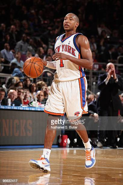 Chris Duhon of the New York Knicks moves the ball against the Los Angeles Clippers during the game on December 18 2009 at Madison Square Garden in...