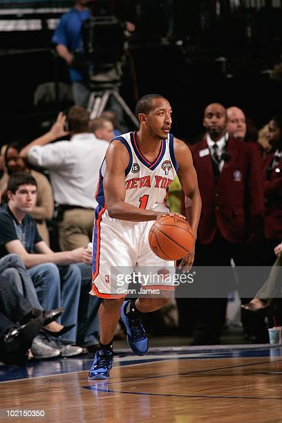 Chris Duhon of the New York Knicks shoots a jump shot during the game against the Dallas Mavericks on March 13 2010 at American Airlines Center in...