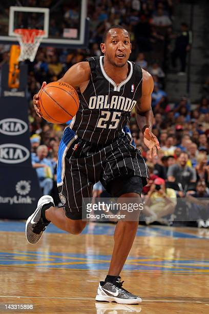 Chris Duhon of the Orlando Magic controls the ball against the Denver Nuggets at Pepsi Center on April 22 2012 in Denver Colorado The Nuggets...