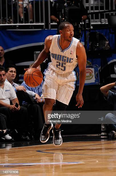 Chris Duhon of the Orlando Magic controls the ball against the Indiana Pacers during the 2012 NBA Playoffs in Game Three of the Eastern Conference...