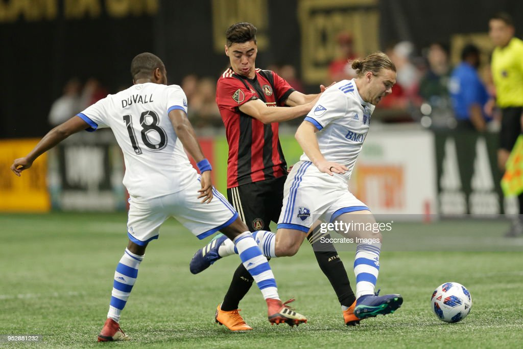 Chris Duval of Montreal Impact , Miquel Almiron of Atlanta United , Samuel Piette of Montreal Impact during the match between Atlanta United FC v Montreal Impact at the Mercedes-Benz Stadium on April 28, 2018 in Atlanta United States