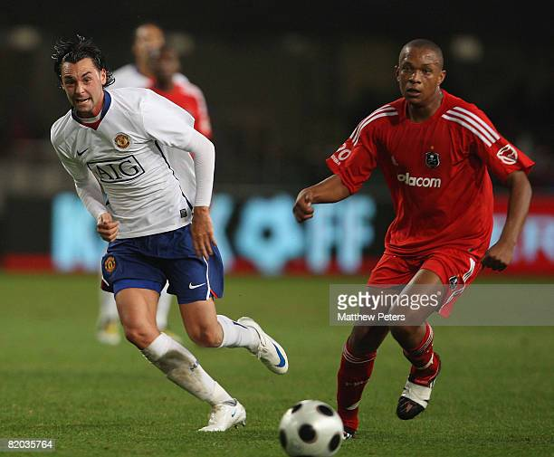 Chris Eagles of Manchester United in action during the Vodacom Challenge preseason friendly match between Orlando Pirates and Manchester United at...