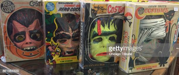 Chris Ecker of South Elgin Ill considers these four costumes the Mount Rushmore of his collection vintage Dracula Werewolf Frankenstein's monster and...