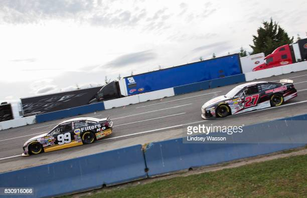 Chris Eggleston and Taylor Riddle battle for position staying in first and second place for most of the NASCAR KN Pro Series West NAPA Auto Parts 150...