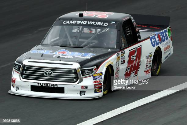 Chris Eggleston driver of the GlobeSprinklercom/H2O Fire Protection Toyota during practice for the NASCAR Camping World Truck Series North Carolina...