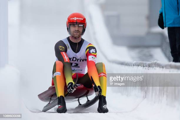 Chris Eissler of Germany completes the sprint men's competition of the FIL World Cup at Veltins Eis-Arena on January 25, 2019 in Winterberg, Germany.