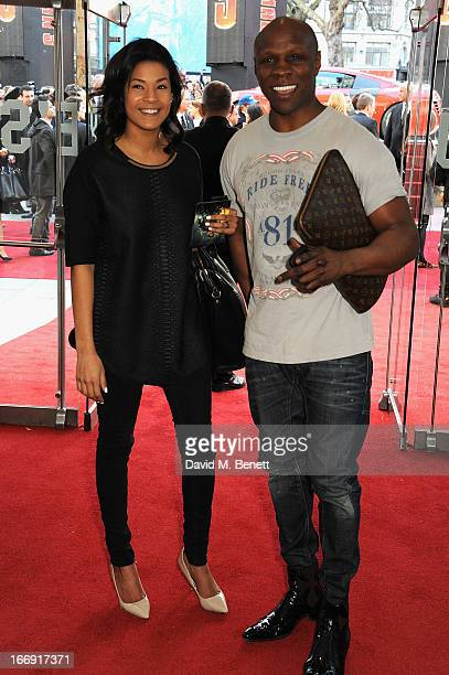 Chris Eubank and guest attend the Iron Man 3 Special Screening at the Odeon Leicester Square on April 18 2013 in London England