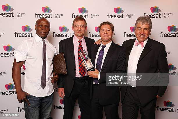 Chris Eubank and John Inverdale with winners of Best Live Coverage at The Freesat Awards at One Mayfair on July 10 2013 in London England