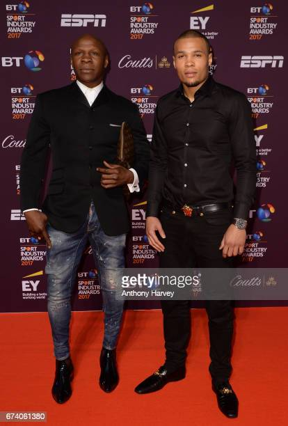 Chris Eubank and son Chris Eubank Jr pose on the red carpet during the BT Sport Industry Awards 2017 at Battersea Evolution on April 27 2017 in...