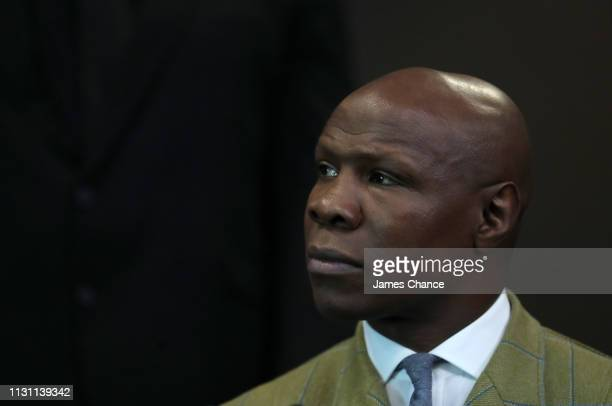 Chris Eubank during a press conference ahead of their IBO World Super Middleweight Title fight at the Intercontinental Hotel on February 21 2019 in...