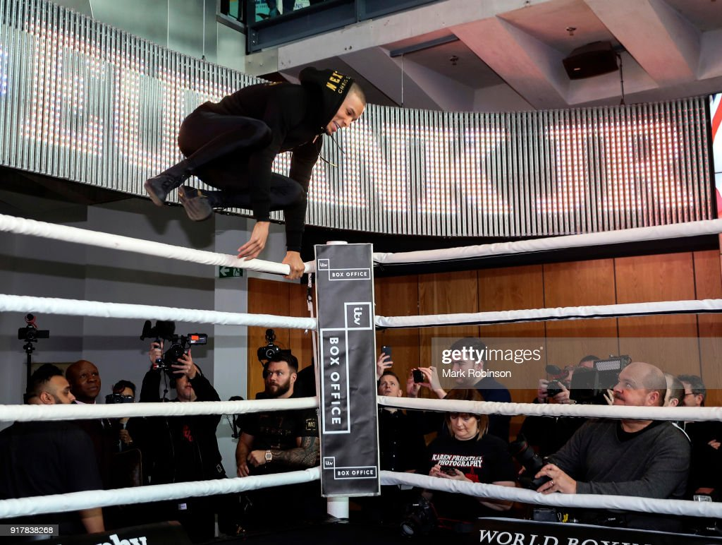 Chris Eubank during a public work out at National Football Museum on February 13, 2018 in Manchester, England.