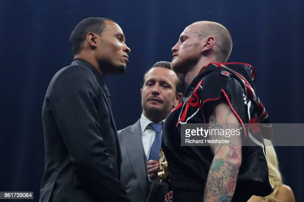 Chris Eubank Jnr and George Groves go head to head after Groves defeated Jamie Cox durng thier WBSS Super Middleweight QuarterFinal at SSE Arena on...