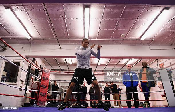 Chris Eubank Jnr in action during a training session at the Brighton and Hove Boxing Club on November 14 2014 in Brighton England