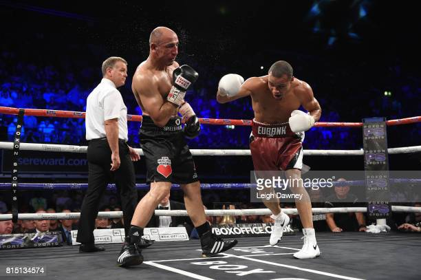 Chris Eubank Jnr in boxing action against Arthur Abraham during the fight for the IBO World World Super Middleweight title at Wembley Arena on July...