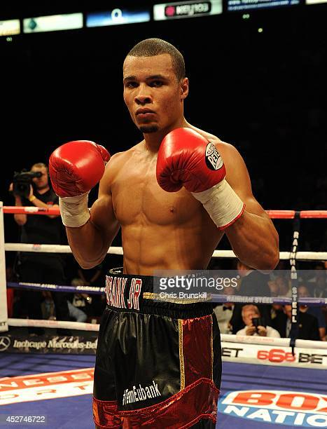 Chris Eubank Jnr of Great Britain poses after stopping Ivan Jukic of Croatia following their middleweight fight at the Phones 4u Arena on July 26...