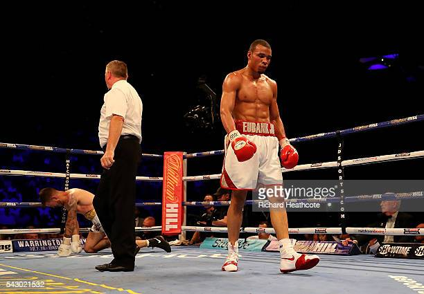 Chris Eubank Jnr of Great Britain walks away after knocking down Tom Doran of Great Britain during their British Middleweight contest at The O2 Arena...