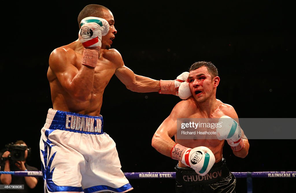 Chris Eubank Jnr (white shorts) on his way to beating Dmitry Chudinov for the WBA Interim World Middleweight Championship at the O2 Arena on February 28, 2015 in London, England.