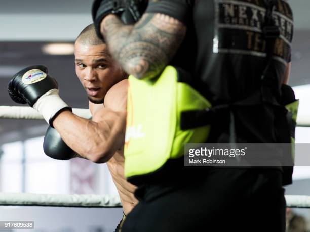 Chris Eubank Jnr takes part in a public work out at National Football Museum on February 13 2018 in Manchester England