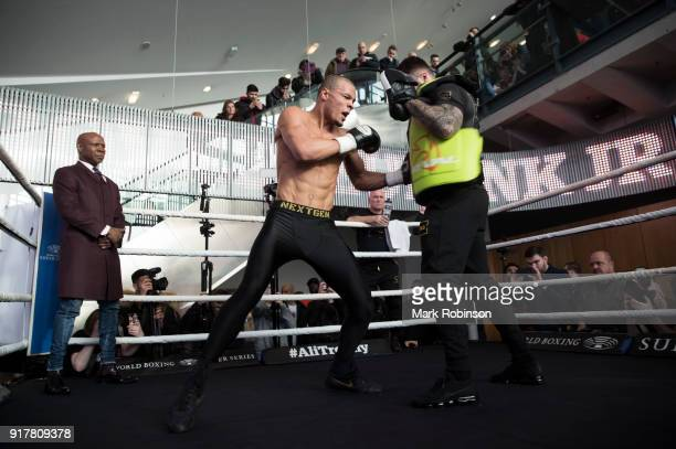Chris Eubank Jnr takes part in a public work out watched by his father Chris Eubank at National Football Museum on February 13 2018 in Manchester...