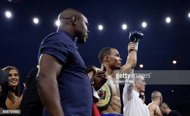 Chris Eubank Jr and Chris Eubank of Great Britain celebrate victory over Avni Yildirim of Turkey after the Super Middleweight World Boxing Super...