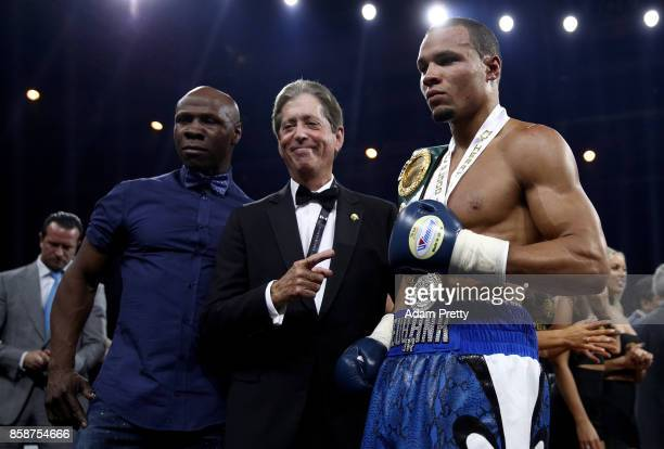 Chris Eubank Jr and Chris Eubank of Great Britain celebrates victory over Avni Yildirim of Turkey after the Super Middleweight World Boxing Super...